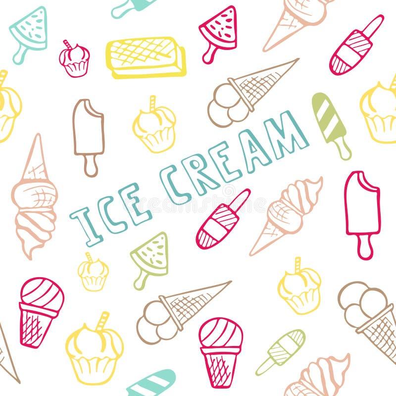 Безшовная картина с мороженым с текстом лета стоковые фото