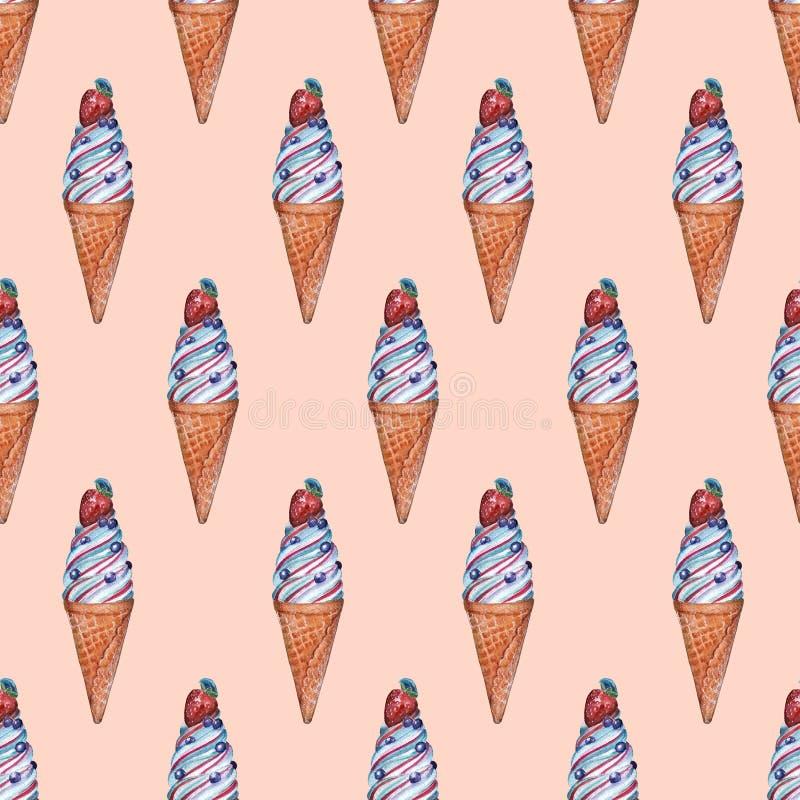 Безшовная картина с мороженым иллюстрация вектора