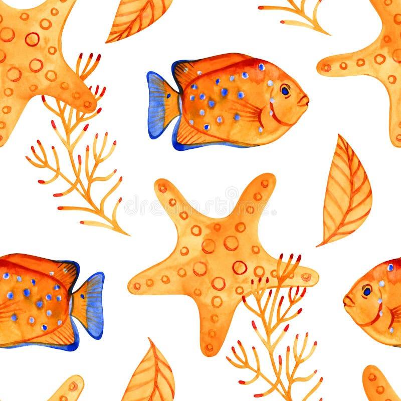 Безшовная картина с морскими морскими звёздами r Смогите быть использовано для ткани, обоев, знамени, пакета, интернет-страницы иллюстрация вектора