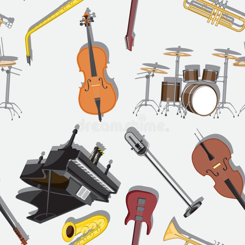 Безшовная картина с музыкальными инструментами на белой предпосылке r иллюстрация вектора