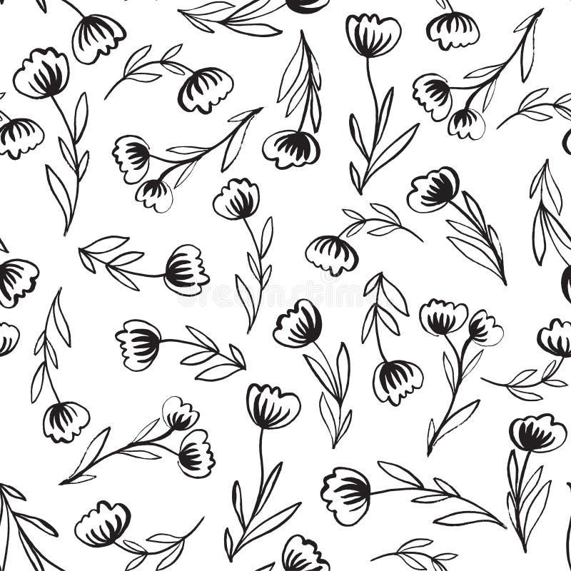 Безшовная картина с нарисованными вручную абстрактными цветками иллюстрация штока