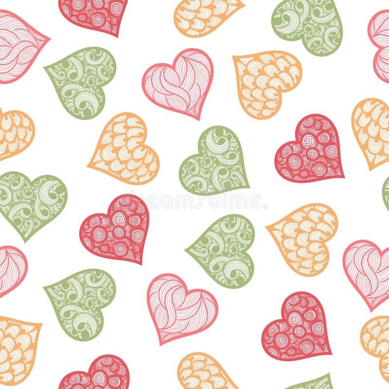 безшовная картина с нарисованными вручную сердцами doodle иллюстрация вектора