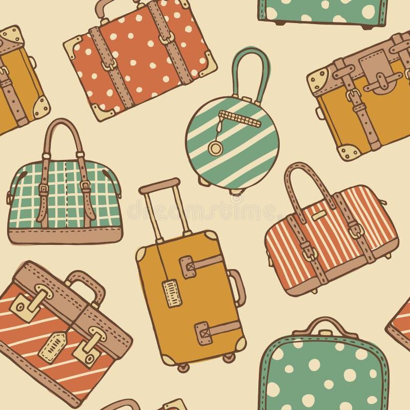 Безшовная картина с нарисованными рукой винтажными сумками и чемоданами перемещения иллюстрация штока