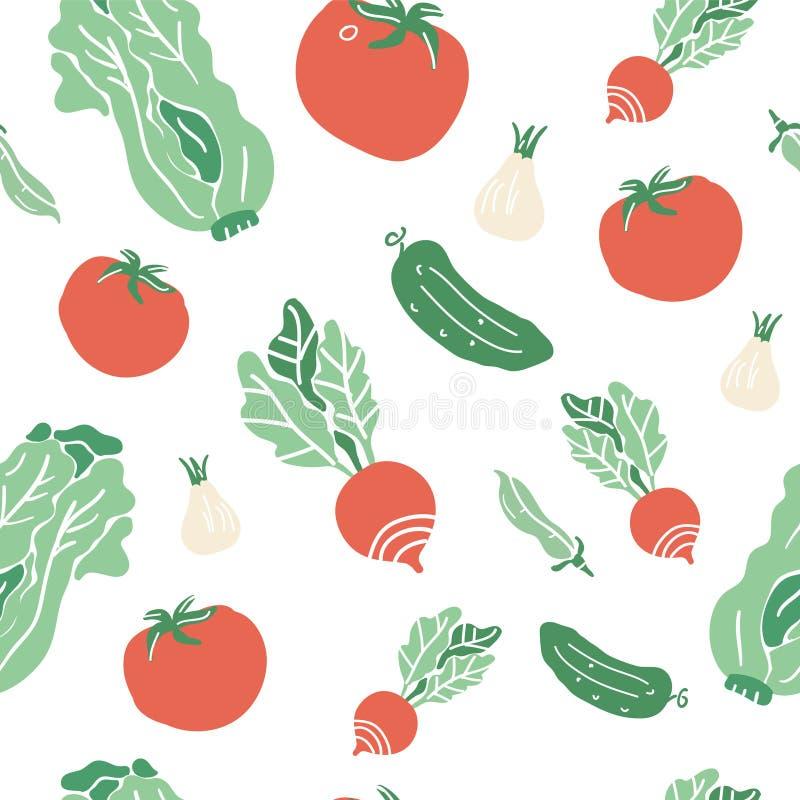 Безшовная картина с нарисованными рукой красочными овощами doodle Собрание вектора стиля эскиза Установленные значки овощей плоск бесплатная иллюстрация