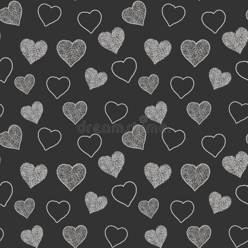 Безшовная картина с нарисованными рукой сердцами doodle, иллюстрация вектора, абстрактная предпосылка бесплатная иллюстрация