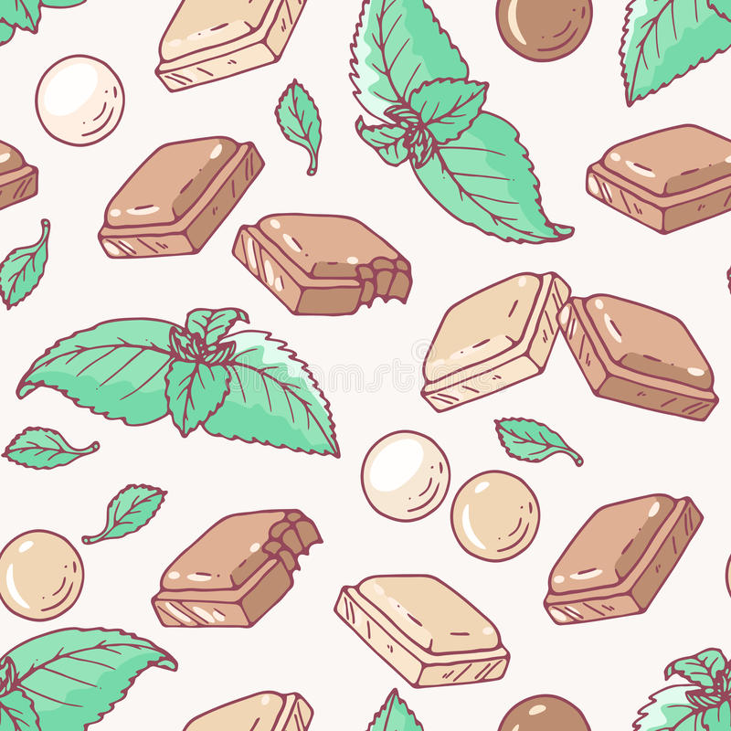 Безшовная картина с нарисованным рукой вкусом шоколада и мяты иллюстрация вектора