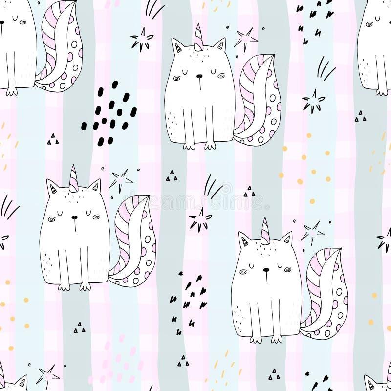 Безшовная картина с нарисованным рукой милым единорогом котов Иллюстрация вектора кота шаржа иллюстрация вектора
