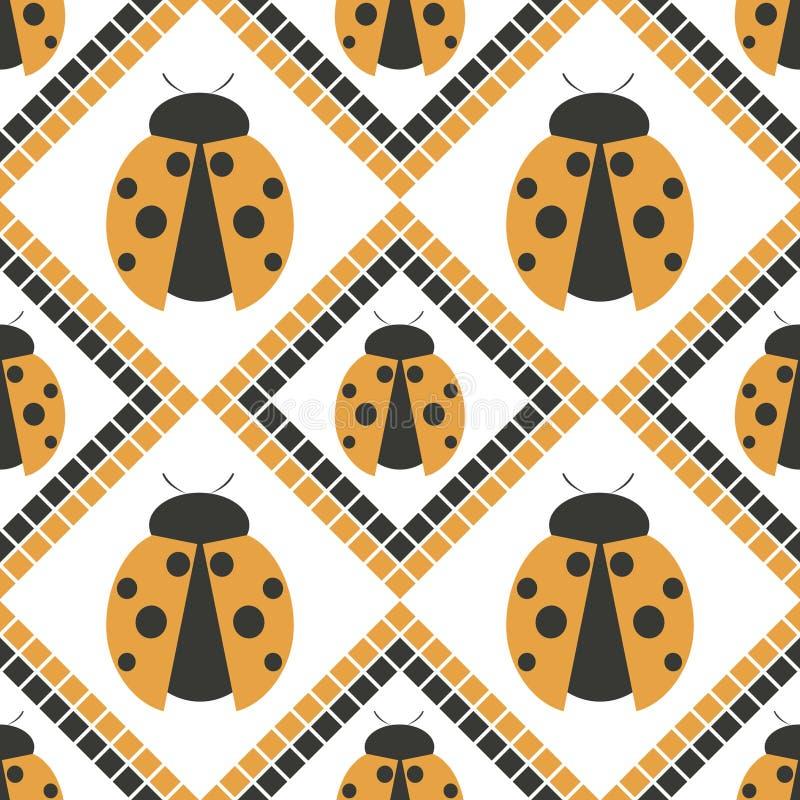 Безшовная картина с насекомыми, симметричная геометрическая оранжевая предпосылка вектора с ladybugs Декоративный повторяя орнаме бесплатная иллюстрация