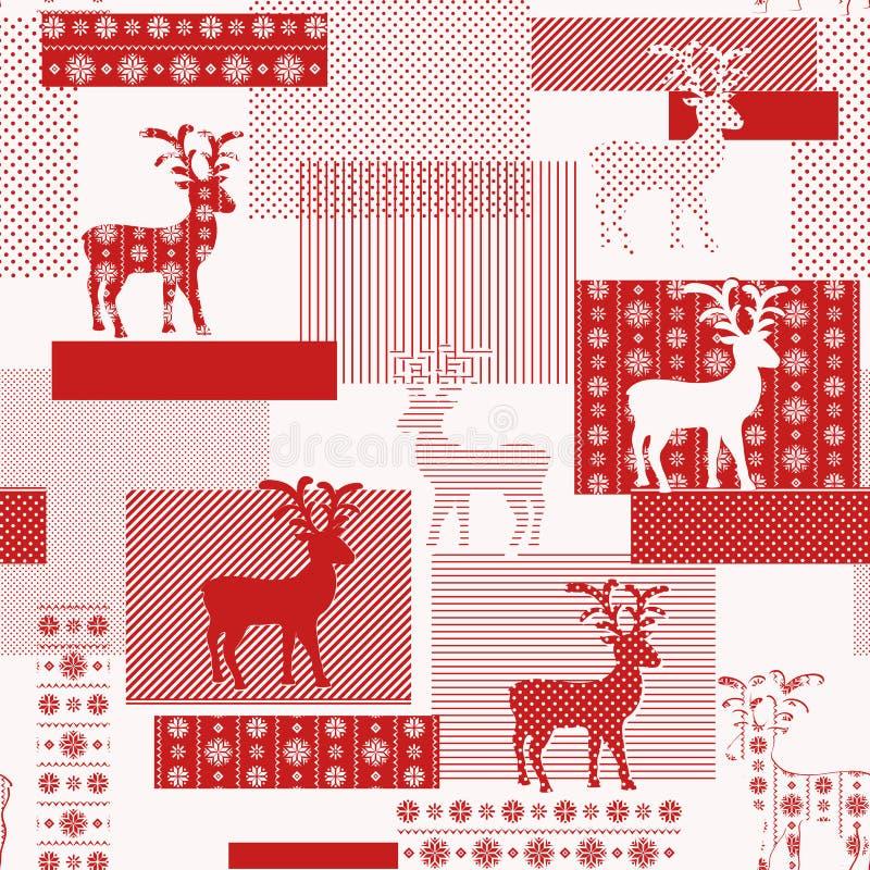 Безшовная картина с нордическими северными оленями иллюстрация вектора