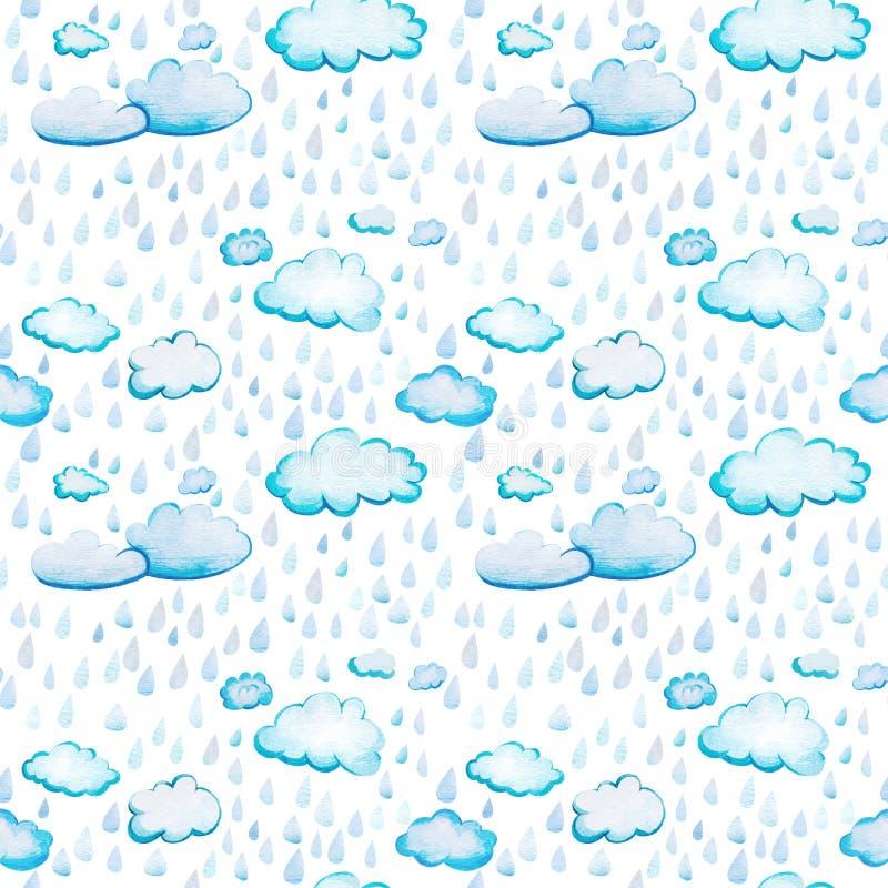 Безшовная картина с облаками и дождем акварели бесплатная иллюстрация