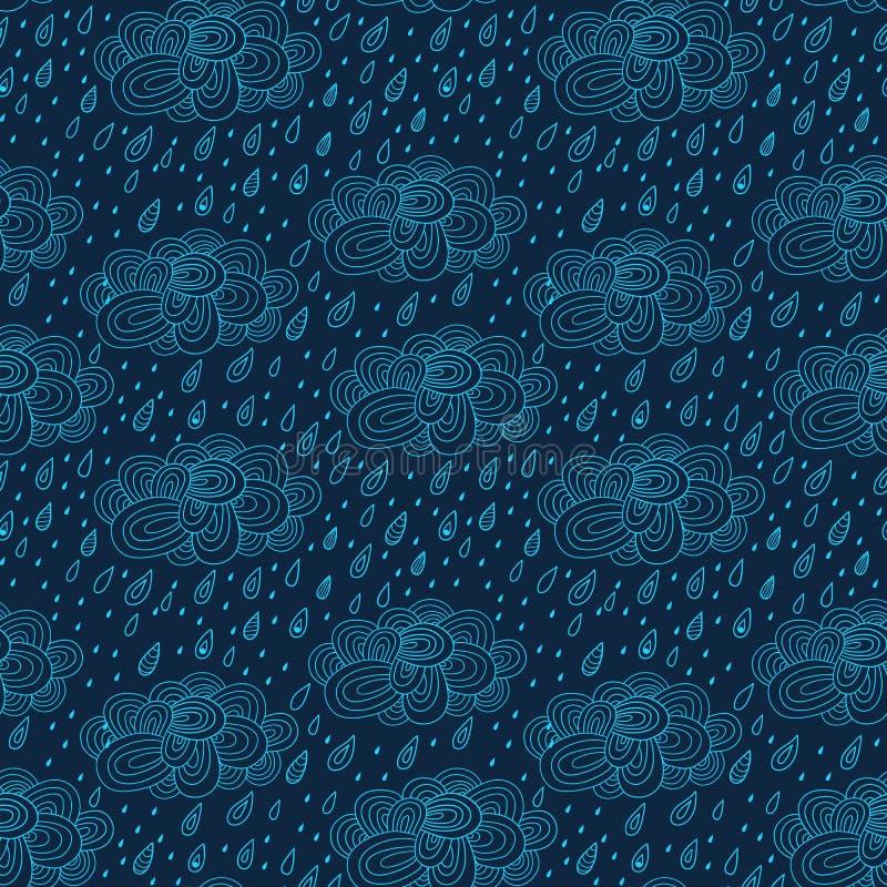 Безшовная картина с облаками, дождь, картина дня осени, doodles бесплатная иллюстрация