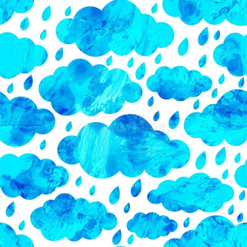 Безшовная картина с облаками, дождь, осень абстрактное grunge предпосылки граници ставят точки вектор стежками 3 холстинки цветка иллюстрация вектора