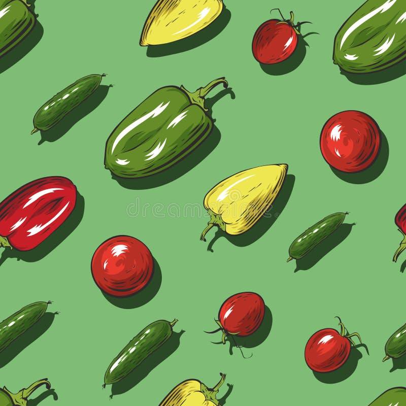Безшовная картина с овощами на зеленой предпосылке иллюстрация вектора