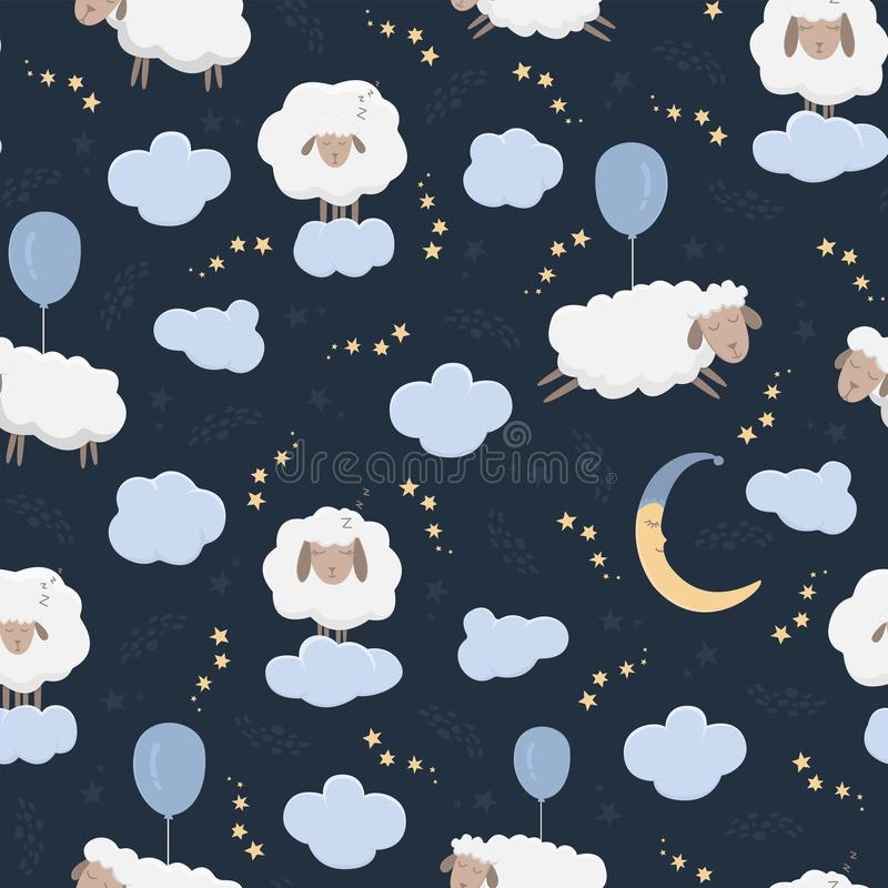 Безшовная картина с овцами мультфильма в небе бесплатная иллюстрация