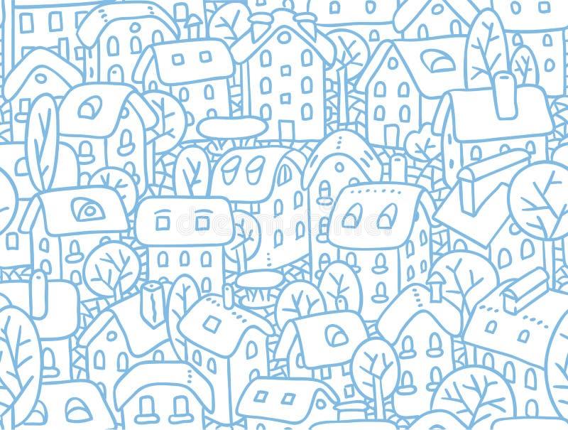 Безшовная картина с домами и дворами иллюстрация штока