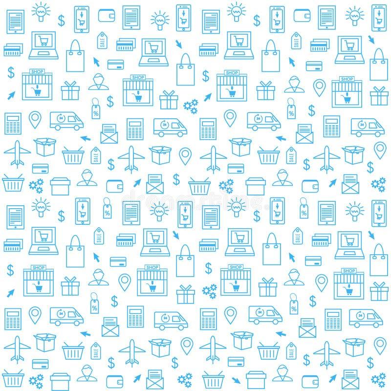 Безшовная картина с онлайн значками покупок в тонкой линии стиле бесплатная иллюстрация