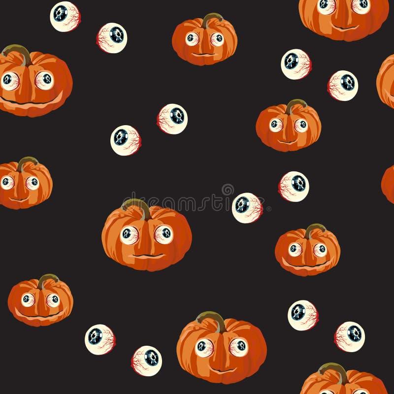Безшовная картина с оранжевыми тыквами хеллоуина высекла стороны и красный цвет наблюдал на черной предпосылке иллюстрация штока