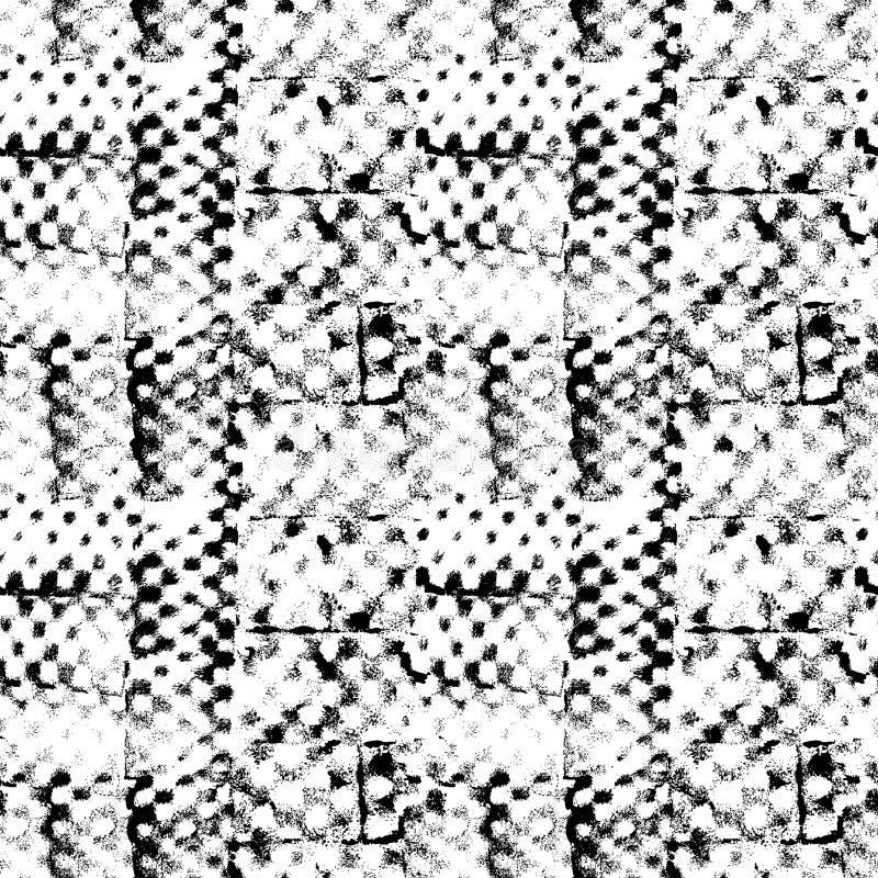 Безшовная картина с отпечатками вектора руки вычерченными Простая геометрическая квадратная текстура бесплатная иллюстрация