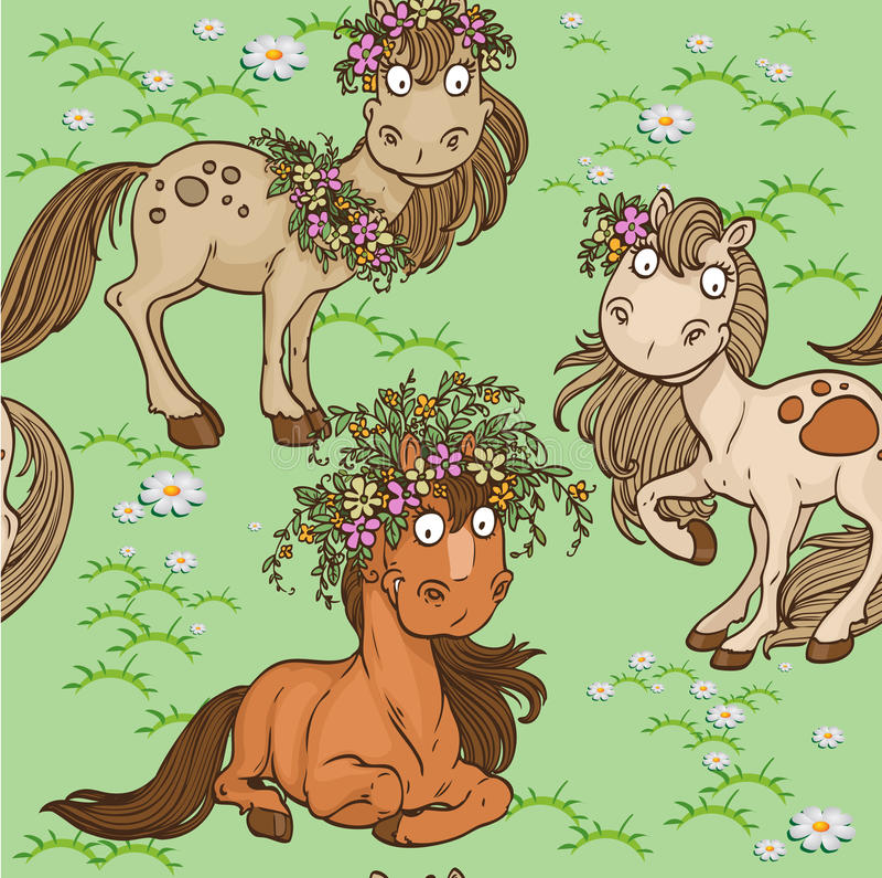 Безшовная картина с лошадями на лужайке иллюстрация вектора