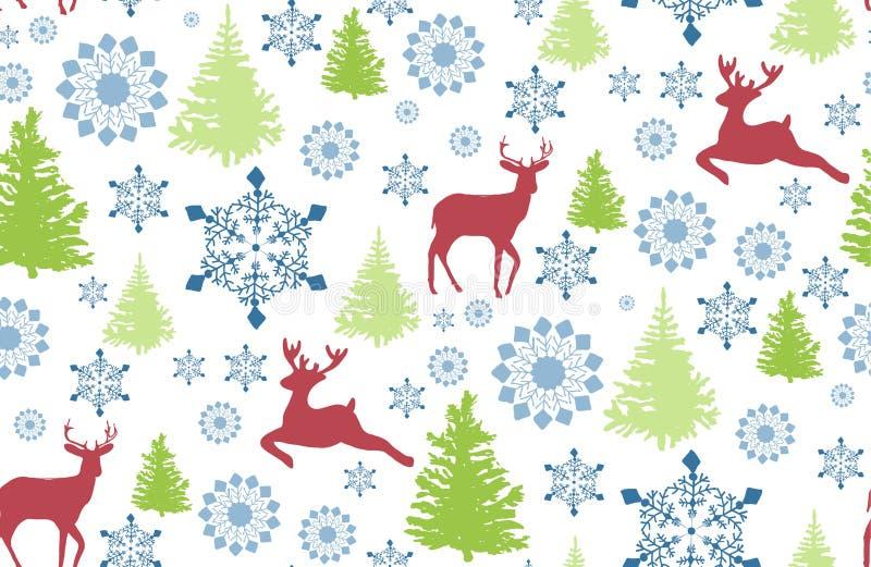 Безшовная картина с оленями, рождественская елка и снежинка на зимние отдыхи конструируют иллюстрация штока