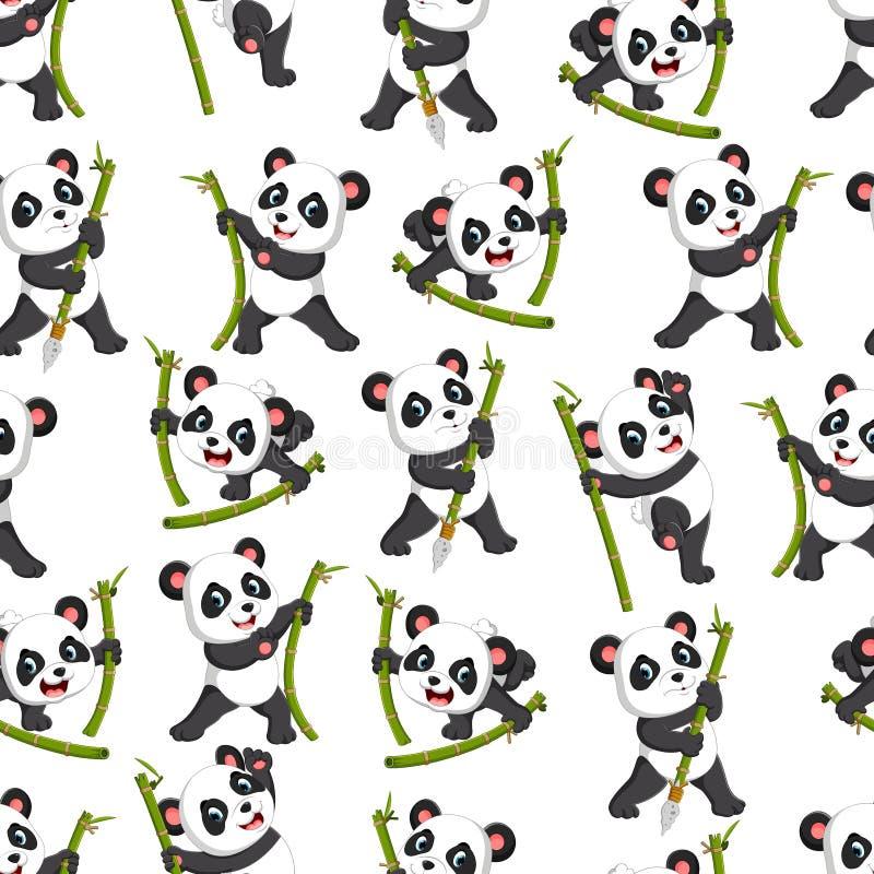 Безшовная картина с пандой играя с зеленым бамбуком иллюстрация штока