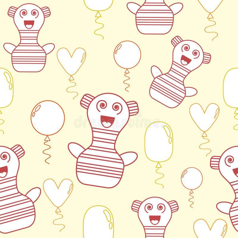 Безшовная картина с пастельными желтыми, оранжевыми и розовыми милыми характерами и воздушными шарами doodle бесплатная иллюстрация