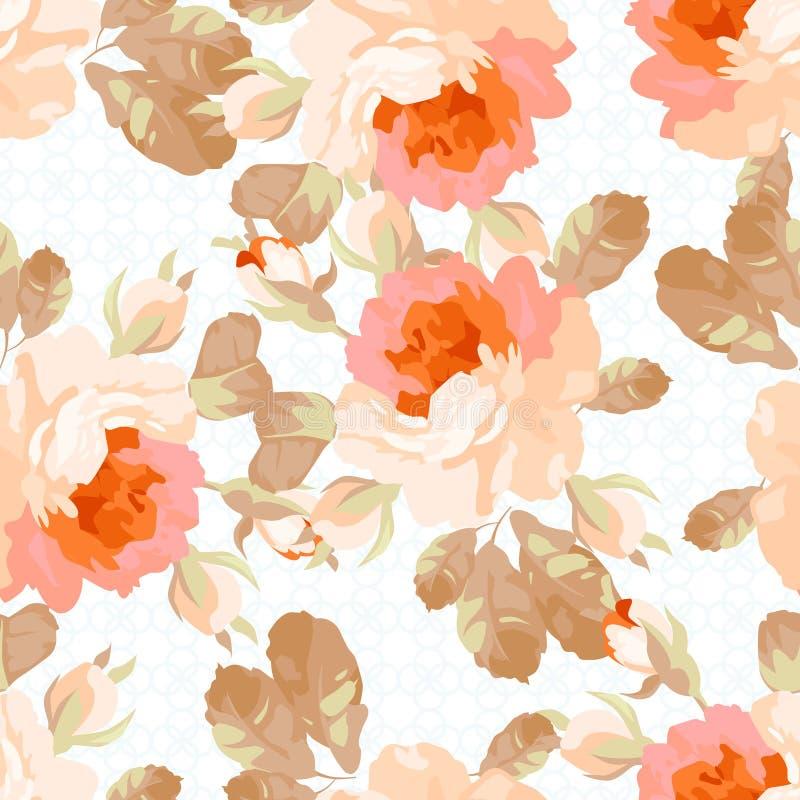 Безшовная картина с пастельными розами бесплатная иллюстрация