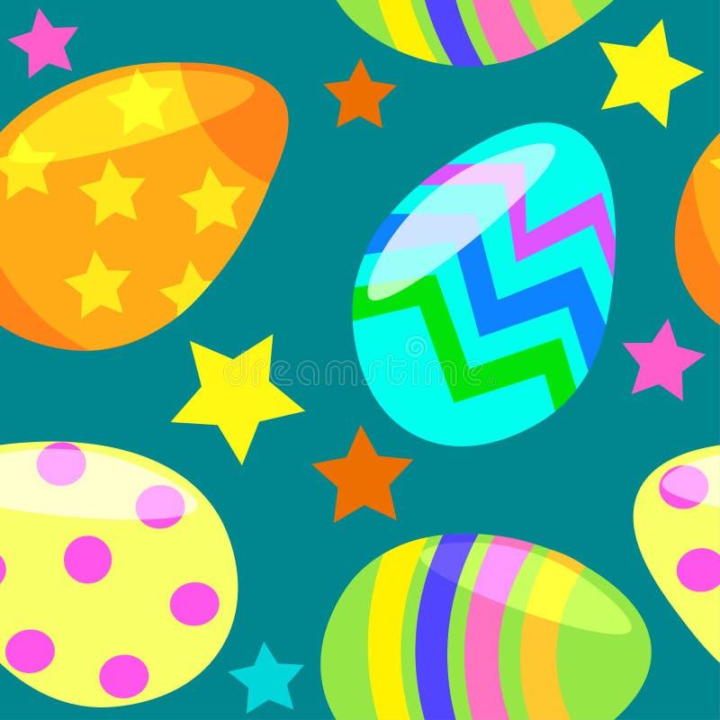 Безшовная картина с пасхальными яйцами иллюстрация штока