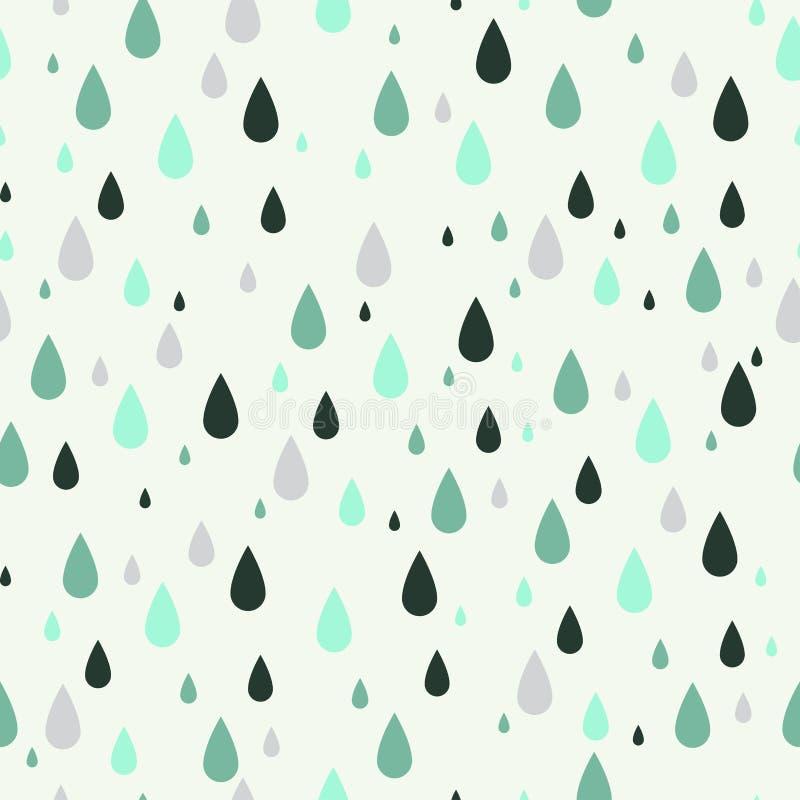 Безшовная картина с падениями дождя Смогите быть использовано к дизайну ткани, обоям, декоративной бумаге, веб-дизайну, etc иллюстрация вектора