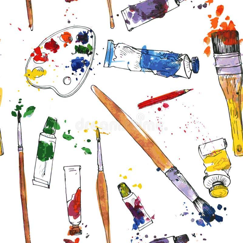Безшовная картина с палитрой и щетками бесплатная иллюстрация