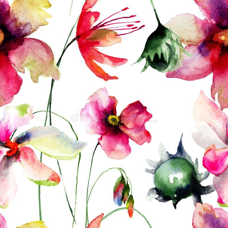 Безшовная картина с первоначально цветками бесплатная иллюстрация