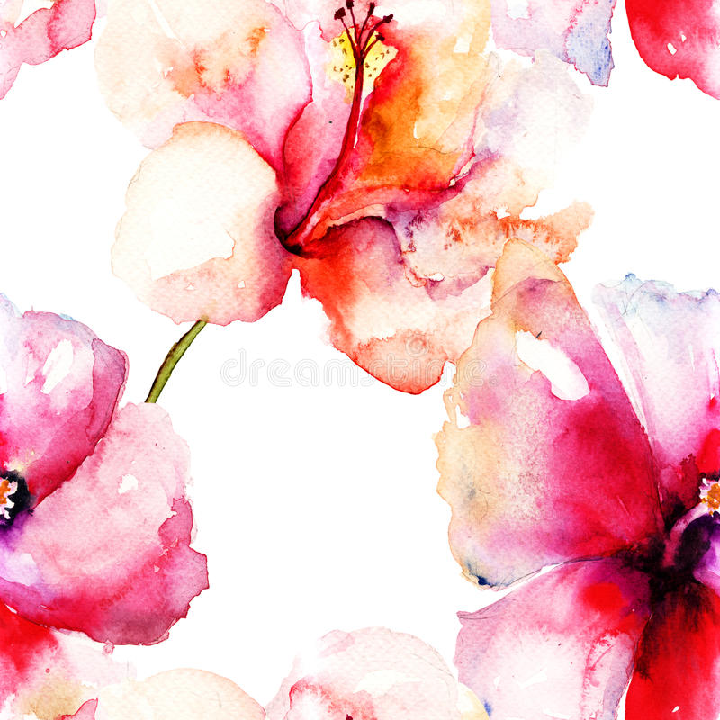 Безшовная картина с первоначально цветком лилии бесплатная иллюстрация