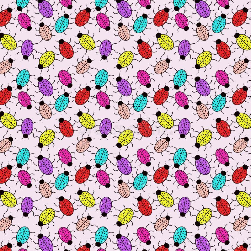 Безшовная картина с пестроткаными ladybirds иллюстрация вектора