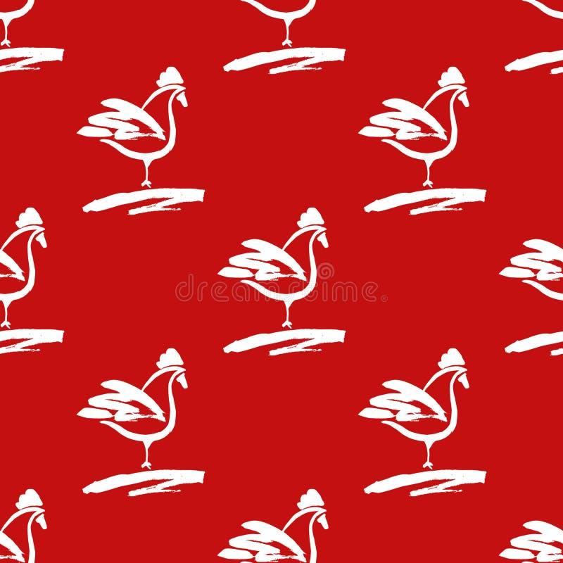 Безшовная картина с петухами Вычерченная щетка кранов на красном bac иллюстрация вектора