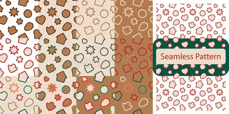 Безшовная картина с печеньями пряника рождества - конфета xmas, колокол, ангел, звезда, дом, сердце иллюстрация вектора