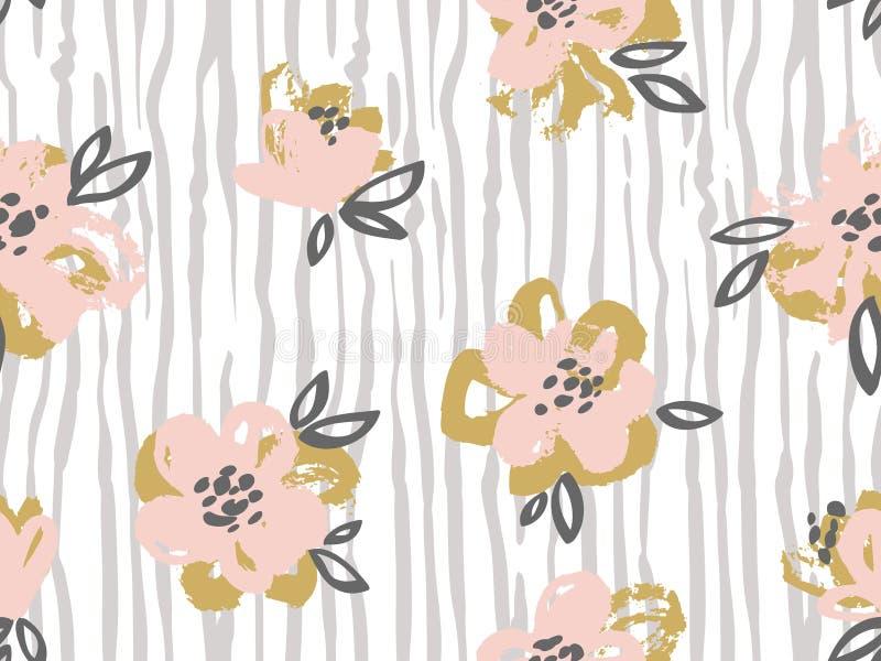 Безшовная картина с пинком и золотом цветет на striped предпосылке бесплатная иллюстрация