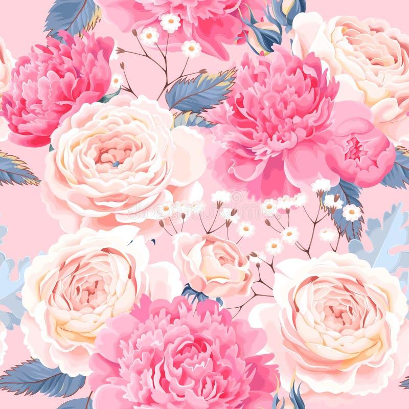 Безшовная картина с пионами и розами иллюстрация штока