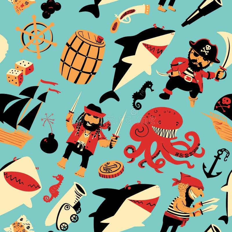 Безшовная картина с пиратами и акулами и морскими объектами иллюстрация штока