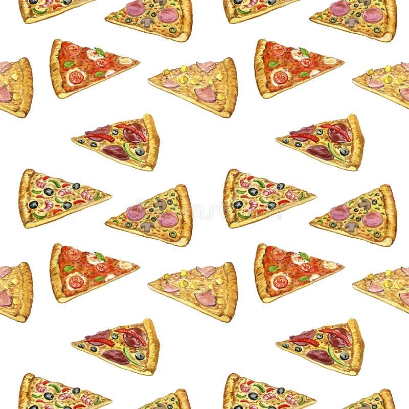 Безшовная картина с пиццей иллюстрация штока