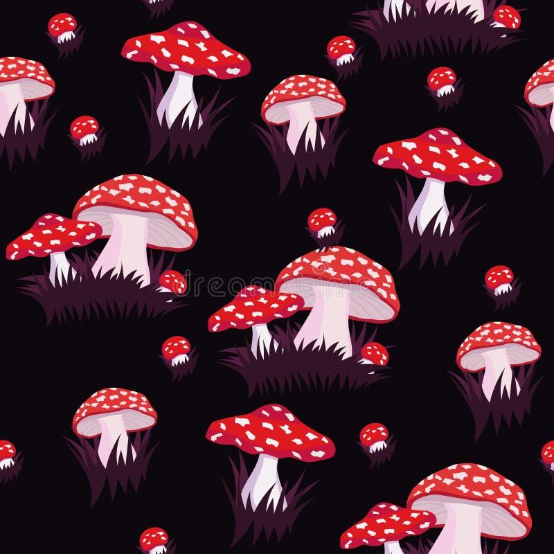 Безшовная картина с пластинчатым грибом мухы Печать для ткани или упаковочной бумаги или другого o иллюстрация вектора