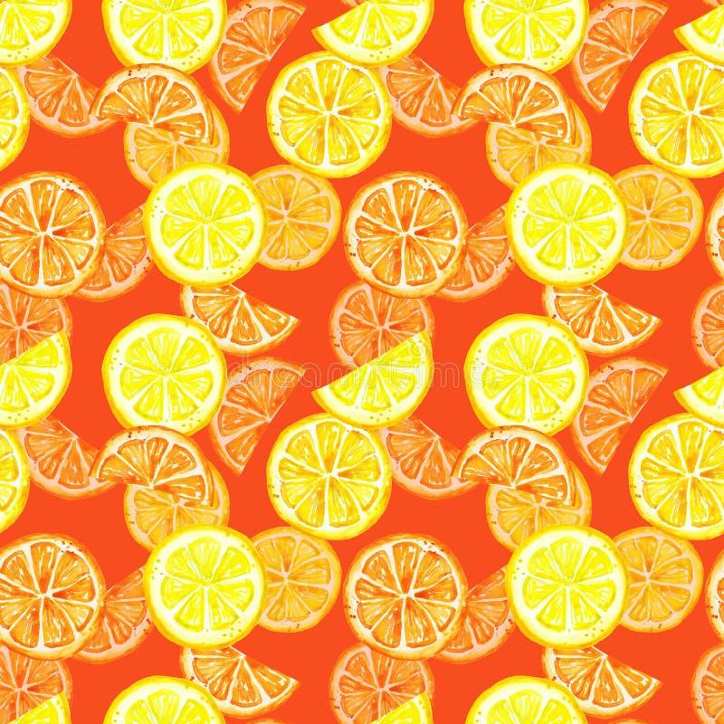 Безшовная картина с плодами лимона лета акварели Кусок цитруса, лимон, оранжевый на теплой красной предпосылке Тропические плоды иллюстрация штока