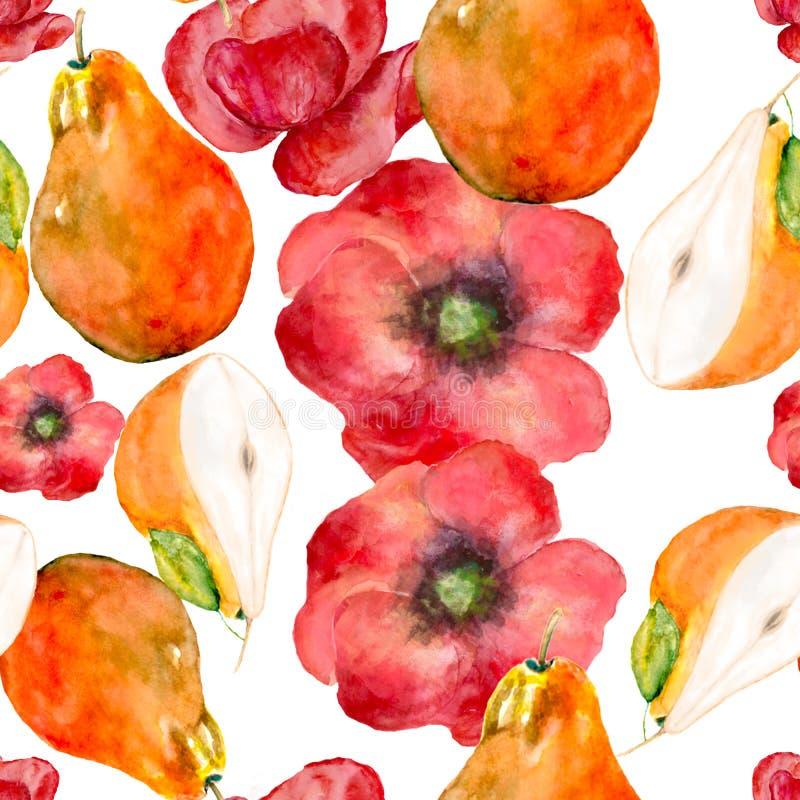 Безшовная картина с плодом груши и акварелью маков иллюстрация штока