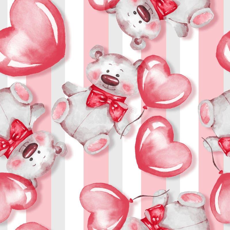 Безшовная картина с плюшевым мишкой и воздушными шарами красный цвет поднял иллюстрация вектора