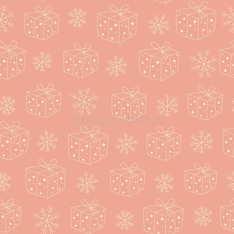 Безшовная картина с подарками и снегом иллюстрация вектора