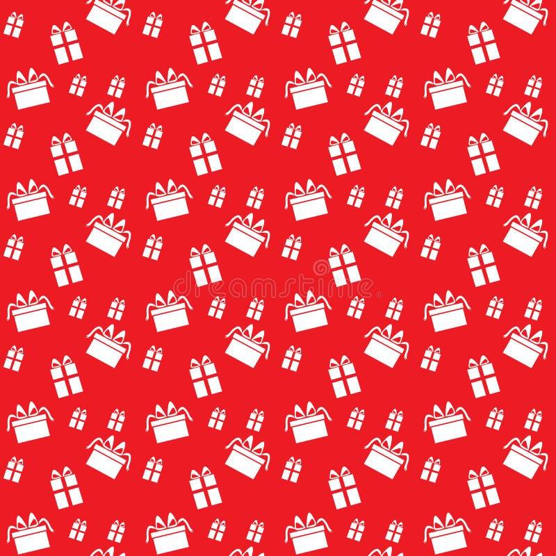 Безшовная картина с подарками на красной предпосылке иллюстрация штока