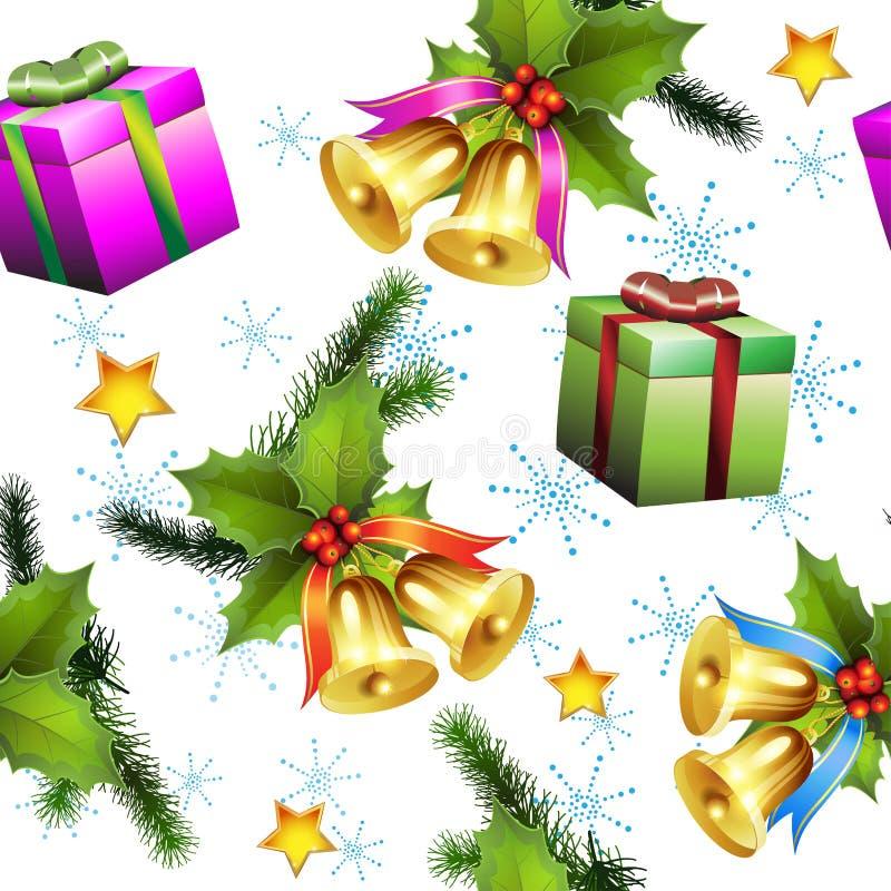 Безшовная картина с подарками рождества иллюстрация штока