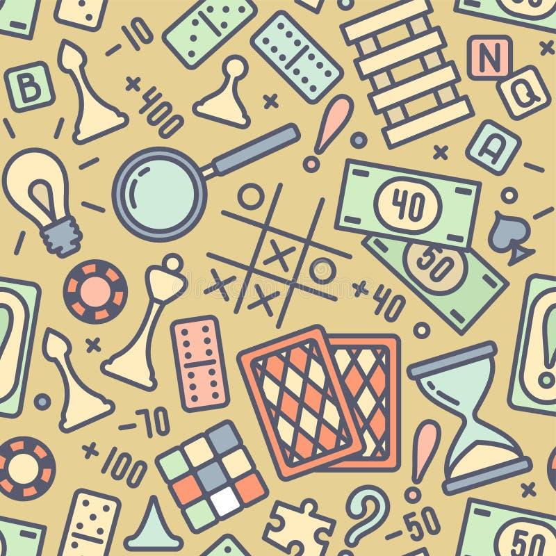 Безшовная картина с покрашенными атрибутами настольной игры иллюстрация вектора