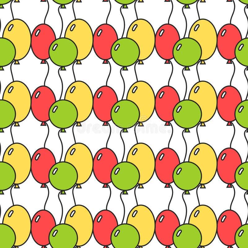 Безшовная картина с покрашенными воздушными шарами Праздничная предпосылка, иллюстрация бесплатная иллюстрация