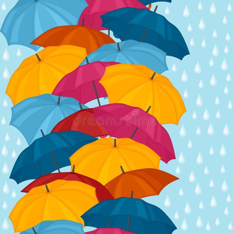 Безшовная картина с покрашенными зонтиками для иллюстрация штока