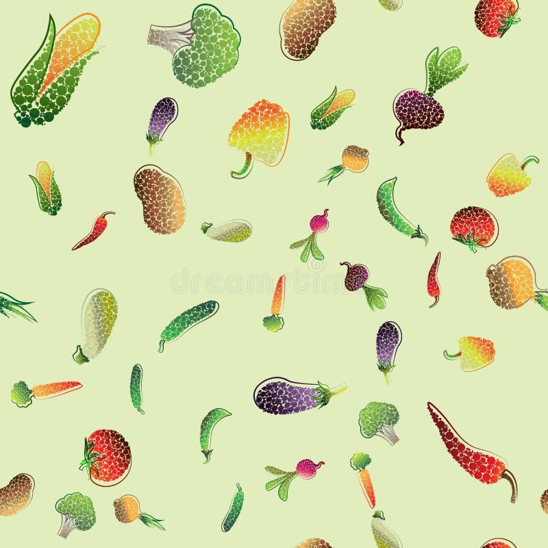 Безшовная картина с покрашенными овощами вода вектора свежей иллюстрации конструкции естественная ваша иллюстрация штока